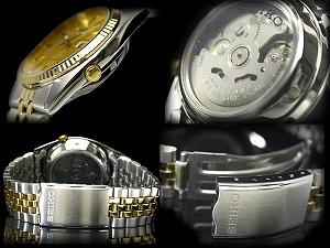 精工 5 名男子的自动自动上发条的手表金字塔挡板金拨号金字塔挡板金拨号 SNXJ92K1