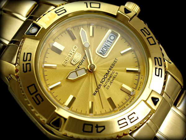 【日本製逆輸入SEIKO5SPORTS】セイコー5 メンズ自動巻き腕時計 オールゴールド ギョーシエゴールドダイアル ゴールドステンレスベルト SNZB26J1【あす楽】