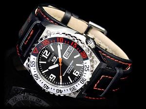 精工五自动卷式手表黑色拨盘手镯型黑色皮革皮带SNZD81K1
