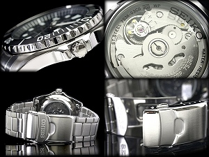 精工5男子的自动卷手表黑色拨盘×银子金属皮带SNZF17K1
