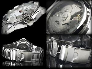 精工5男子的潜水员自动卷手表银子情况Lumi BRIGHT拨盘银子不锈钢皮带SNZF59J1