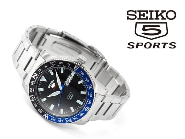 Seiko 5 sports hand bird nesting mechanical men's watch black dial stainless steel belt SRP659J1