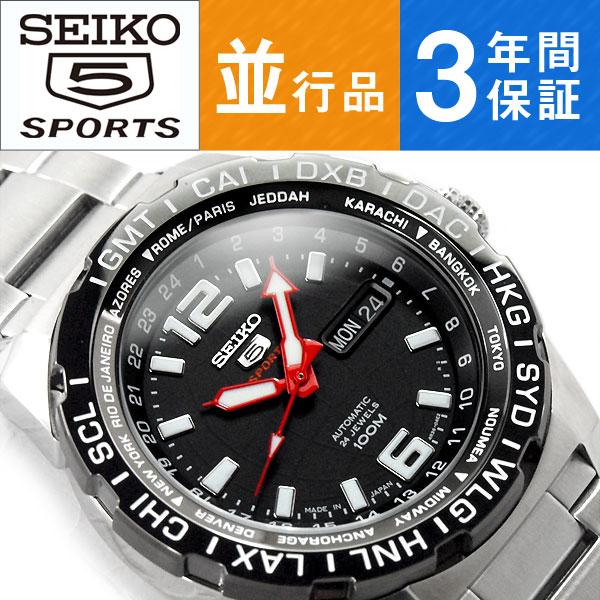 9c47a2c906 自動巻き シルバーステンレスベルト 手巻き付き機械式 腕時計 SRPB33K1 メンズ ブラックダイアル セイコー5スポーツ 【逆輸入 SEIKO5  SPORTS】