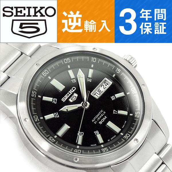 【日本製逆輸入 SEIKO5】セイコー5 機械式自動巻き メンズ 腕時計 ブラックダイアル ステンレスベルト SNKN13J1