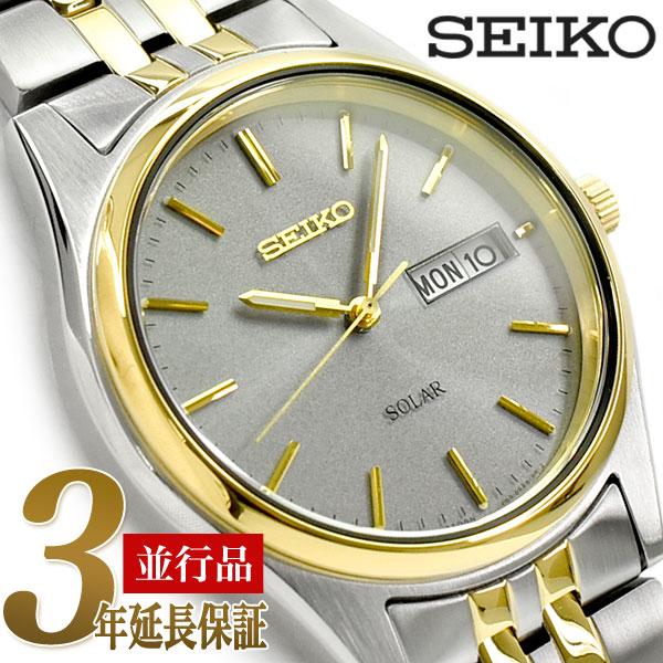 【逆輸入 SEIKO Solar】セイコー ソーラー メンズ 腕時計 グレーダイアル シルバー×ゴールド ステンレスベルト SNE042P1【あす楽】