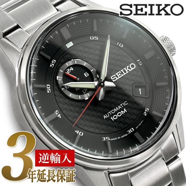 【日本製 逆輸入 SEIKO】セイコー 自動巻き 手巻き付き機械式 メンズ 腕時計 ブラックダイアル ステンレスベルト SSA381J1