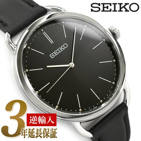 【逆輸入SEIKO】セイコー クォーツ レディース 腕時計 ブラックダイアル ブラックレザーベルト SUR233P1【あす楽】