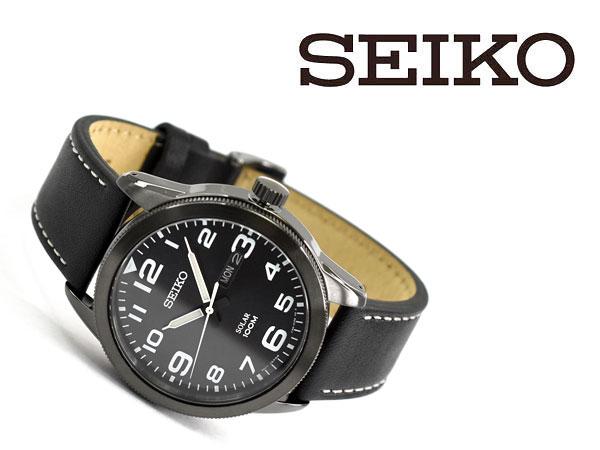 【逆輸入 SEIKO】セイコー ソーラー メンズ 腕時計 ブラックダイアル ブラックレザーベルト SNE477P1【あす楽】