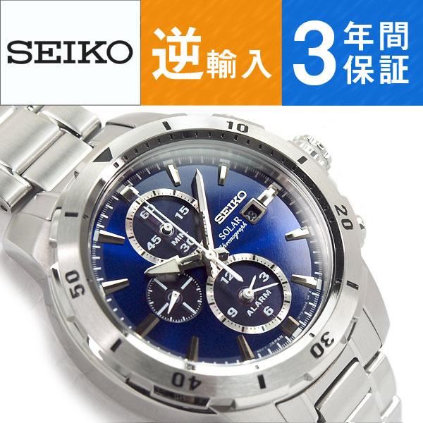 【逆輸入SEIKO】セイコー ソーラー クロノグラフ メンズ 腕時計 ブルーダイアル ステンレスベルト SSC555P1