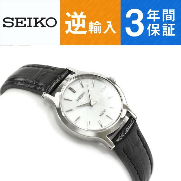 【逆輸入SEIKO】セイコー ソーラー レディース 腕時計 ホワイトダイアル ブラックレザーベルト SUP299P1