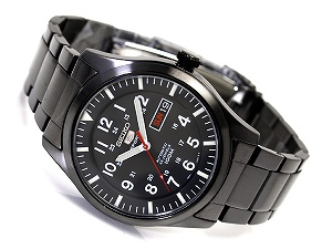 Seiko 5 mens automatic watch black dial black IP black stainless steel belt SNZG17K1