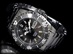 SEIKO 5 men's self-winding watch watch oar IP black center wave dial IP black stainless steel belt SNZG41J1