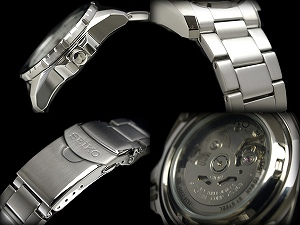 Seiko 5 mens automatic watch black lines × レッドベゼル black dial silver stainless steel belt SNZG69J1