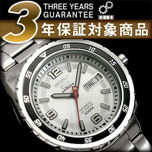 精工 5 男士自动手表黑色线 x 白色挡板白银色表盘银色不锈钢带 SNZG65K1