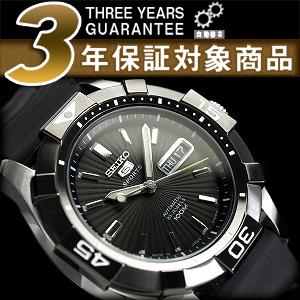 Seiko five sport men's automatic self-winding watch IP black bezel ギョーシエ black dial polyurethane belt SNZH05J1