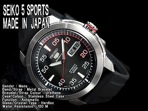 精工5体育人自动卷手表黑色拨盘尿烷皮带SNZH69J1
