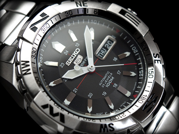 Seiko 5 sports mens Automatic Watch Silver Dial silver stainless steel belt SNZJ03J1