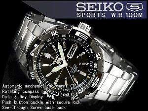 Seiko 5 sports mens automatic watch black bezel black dial silver stainless steel belt SNZJ07K1