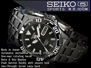 Seiko 5 sports mens automatic diver's watch-all black black IP black stainless steel belt SNZJ41J1