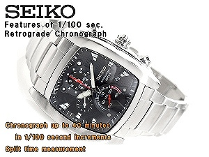 Seiko men's high speed 1 / 100 sec Chronograph Watch Black Dial stainless steel belt SPC029P1