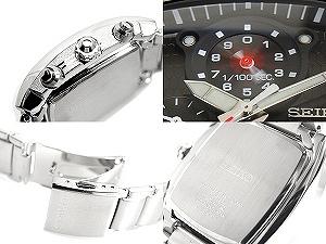 精工人高速1/100秒计时仪手表黑色拨盘不锈钢皮带SPC029P1