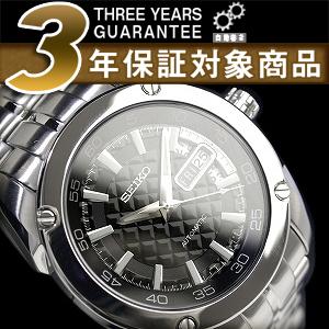 セイコースーペリア men's automatic self-winding watch black dye cut dial-silver stainless steel belt SRP003K1