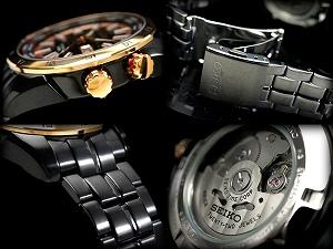 セイコースーペリア worldwide limited 1000 men's automatic self-winding watch ピンクゴールドベゼル black dye cut dial IP black stainless steel belt SRP040K1