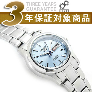 Seiko 5 automatic + manual winding ladies watch light blue x Silver Dial silver stainless steel belt SYMJ19J1