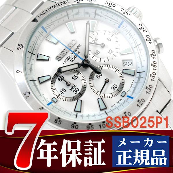 Seiko men's Chronograph Watch White Dial stainless steel belt SSB025P1