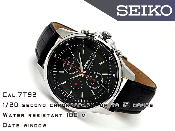 Seiko men's 1 / 20 sec high speed Chronograph Watch Black Dial black leather belt SNDE29P1