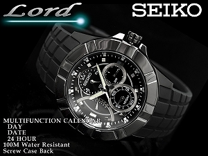 Seiko road men's multifunction watch-all black urethane belt SRL071P1
