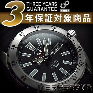 Seiko 5 sports mens automatic winding watch black dial polyurethane belt SRP357K2