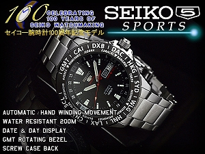 Seiko 100 anniversary commemorative limited model Seiko 5 sports mens automatic winding watch black bezel black dial silver stainless steel belt SRP433K1