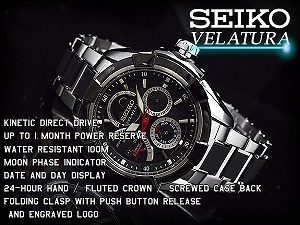 Seiko velatura kinetic direct drive mens watch black dial silver stainless steel x black urethane belt SRX009P1
