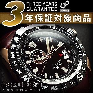 セイコースーペリア men's automatic self-winding hand-wound watch rose gold case black dial brown leather belt SSA098K1