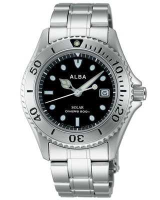 Seiko Alba mens watch solar diver watch black AEFD529
