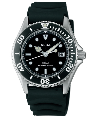 Seiko Alba mens watch solar diver watch black AEFD530