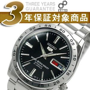 5 SEIKO SEIKO five self-winding watch men watch black dial silver stainless steel belt SNKE01K1