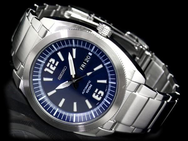 附带精工5精工五日日期日历的自动卷人手表深蓝拨盘不锈钢金属皮带SNKF05K1