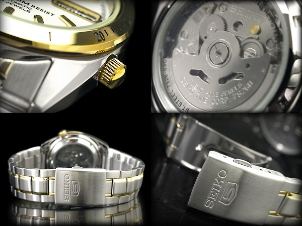 Seiko 5 セイコーファイブ automatic self-winding men's watch ライトゴールドベゼル White Dial stainless steel ライトゴールドコンビ belt SNKF52K1
