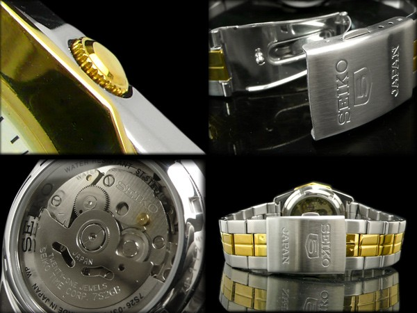 Seiko 5 セイコーファイブ dress 12 rectangular bezel automatic movement mens watch-White Dial-two-tone metal belt SNKG84J1