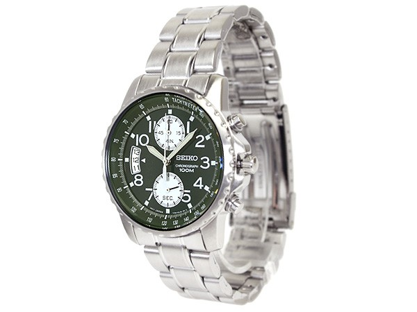 SEIKO column date chronograph men watch glee - ン clockface metal belt SNN077P1