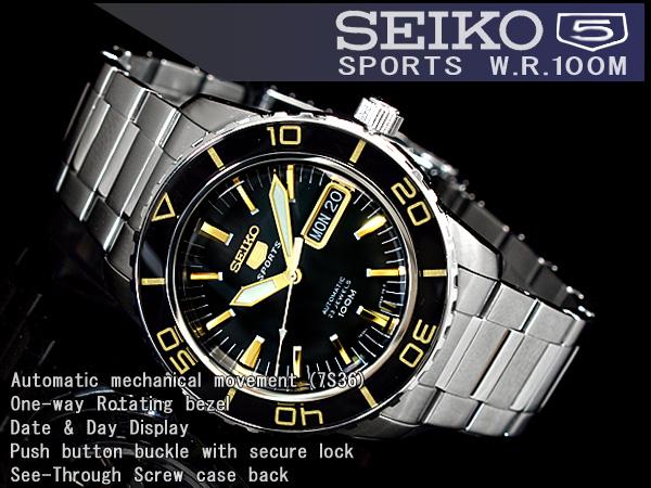 精工5男子的自动卷手表黑色×黄金不锈钢皮带SNZH57