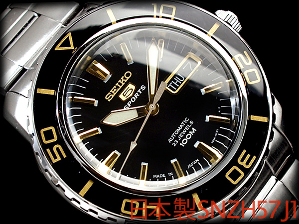 Seiko 5 mens automatic watch black / gold stainless steel belt SNZH57J1