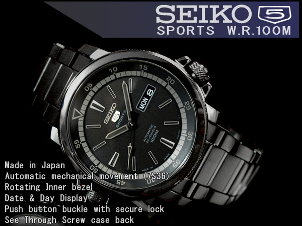 Seiko 5 mens automatic watch black stainless steel belt SNZJ67J1
