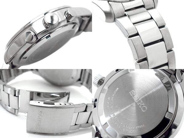 Seiko chronograph mens watch black dial stainless steel belt SSB049P1