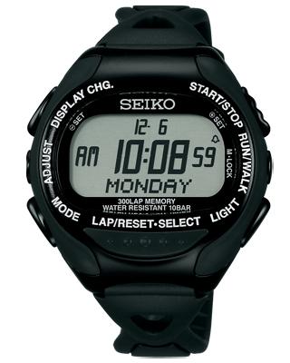 精工专业规格的超级市场赛跑者的跑步表黑色×黑色数码手表SBDH015