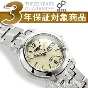 Seiko 5 Womens automatic watch off-white dial stainless steel belt SYMD97K1