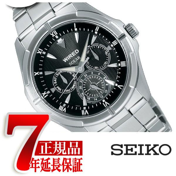 【正規品】セイコー ワイアード SEIKO WIRED ニュースタンダード メンズ 腕時計 ソーラー マルチファンクション ブラック AGAD032