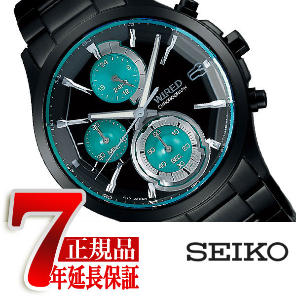 【SEIKO WIRED】セイコー ワイアード 腕時計 メンズ リフレクション REFLECTION クロノグラフ クォーツ ブラック×グリーン AGAV121